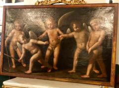 18th Century Alegorial Framed Oil on Canvas Playing Cherubs - 1248500
