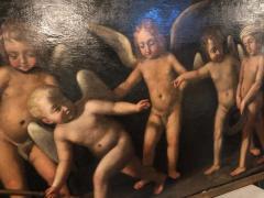 18th Century Alegorial Framed Oil on Canvas Playing Cherubs - 1248503