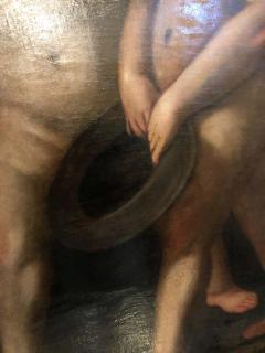 18th Century Alegorial Framed Oil on Canvas Playing Cherubs - 1248508