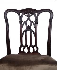18th Century English Gothic Chippendale Mahogany Side Chair in Grey Velvet - 426052