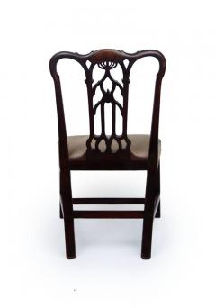 18th Century English Gothic Chippendale Mahogany Side Chair in Grey Velvet - 426055