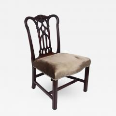 18th Century English Gothic Chippendale Mahogany Side Chair in Grey Velvet - 426141