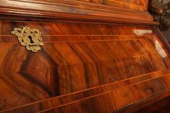 18th Century Italian Walnut Parquetry Important Bureau Cabinet Trumeaux - 1984853