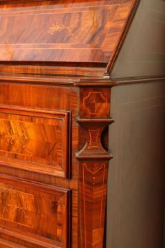 18th Century Italian Walnut Parquetry Important Bureau Cabinet Trumeaux - 1984854