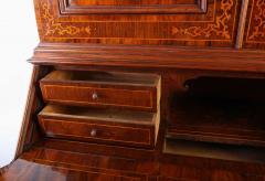 18th Century Italian Walnut Parquetry Important Bureau Cabinet Trumeaux - 1984855