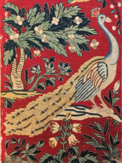 18th Century Needlework Picture with Peacock and Parrot - 947009