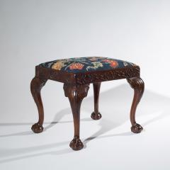 18th Century Queen Anne Walnut Needlepoint Claw Foot Stool - 962267