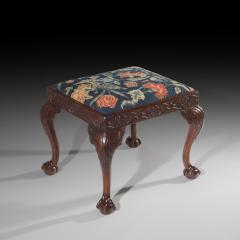 18th Century Queen Anne Walnut Needlepoint Claw Foot Stool - 962268
