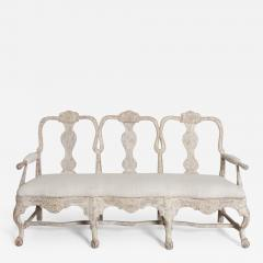 18th Century Swedish Rococo Period Settee Or Bench In Original Paint - 1050143