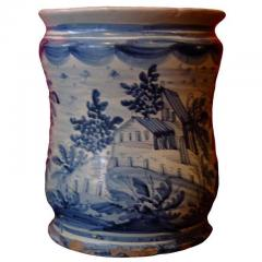 18th c Italian Blue and White Tin Glazed Apothecary Jar - 1358969