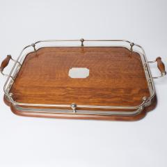 1900s Oak and silver plate tray - 1913920