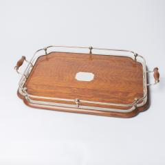 1900s Oak and silver plate tray - 1913922