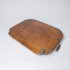 1900s Oak and silver plate tray - 1913924