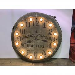 1910s Light Up Double Sided Jewelry Clock Sign - 1368145
