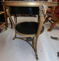 1920s French Gueridon Side Table with Rams Head Details and Marble Top - 1045329