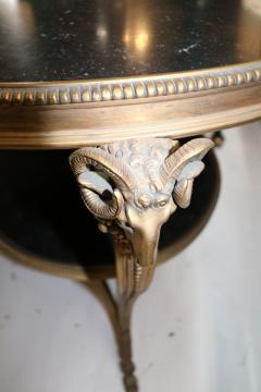 1920s French Gueridon Side Table with Rams Head Details and Marble Top - 1045332