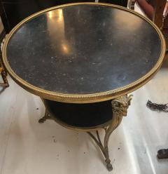 1920s French Gueridon Side Table with Rams Head Details and Marble Top - 1045336