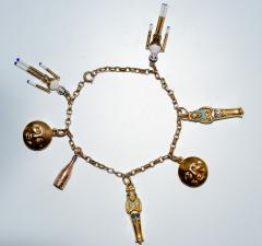 1920s Gold and Enamel Charm Bracelet - 305041