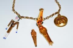 1920s Gold and Enamel Charm Bracelet - 305045