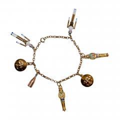 1920s Gold and Enamel Charm Bracelet - 305607