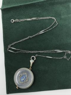 1920s Longines Platinum Diamond Enamel Cameo Pendant Watch - 591789