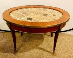 1920s Louis XVI Style Coffee or Low Table Walnut and Marble - 1243532