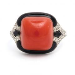 1920s Oxblood Coral Diamond and Enamel Ring - 1222854