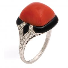 1920s Oxblood Coral Diamond and Enamel Ring - 1222855