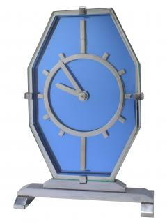 1930s Art Deco Blue Glass and Chrome Modernist Clock - 969317
