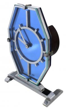 1930s Art Deco Blue Glass and Chrome Modernist Clock - 969318
