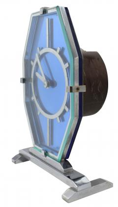 1930s Art Deco Blue Glass and Chrome Modernist Clock - 969319