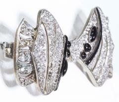 1930s Art Deco Platinum French Onyx Diamond Tuxedo Bow Shaped Brooch Pin Pendant - 1098203
