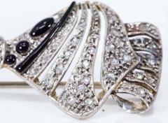 1930s Art Deco Platinum French Onyx Diamond Tuxedo Bow Shaped Brooch Pin Pendant - 1098204