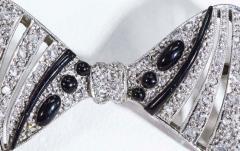 1930s Art Deco Platinum French Onyx Diamond Tuxedo Bow Shaped Brooch Pin Pendant - 1098205