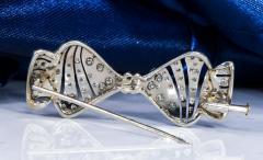 1930s Art Deco Platinum French Onyx Diamond Tuxedo Bow Shaped Brooch Pin Pendant - 1098208
