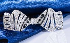 1930s Art Deco Platinum French Onyx Diamond Tuxedo Bow Shaped Brooch Pin Pendant - 1098210