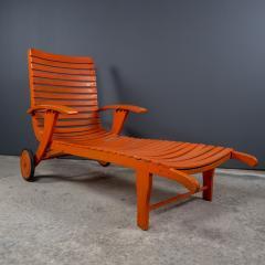 1930s Austrian Bauhaus Garden Lounger Orange Painted - 2170523