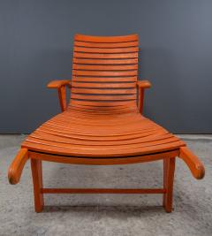 1930s Austrian Bauhaus Garden Lounger Orange Painted - 2170526