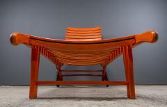 1930s Austrian Bauhaus Garden Lounger Orange Painted - 2170533