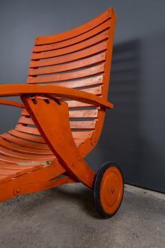1930s Austrian Bauhaus Garden Lounger Orange Painted - 2170534