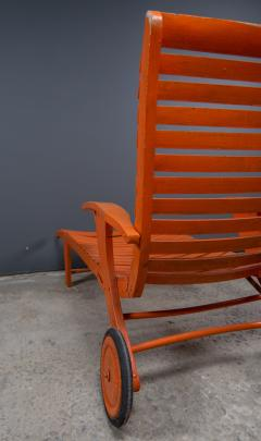 1930s Austrian Bauhaus Garden Lounger Orange Painted - 2170535