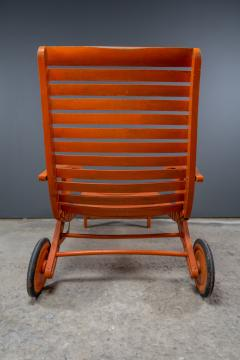 1930s Austrian Bauhaus Garden Lounger Orange Painted - 2170552