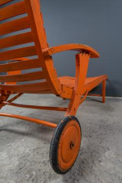 1930s Austrian Bauhaus Garden Lounger Orange Painted - 2170553