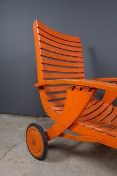 1930s Austrian Bauhaus Garden Lounger Orange Painted - 2170563
