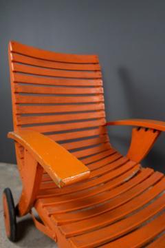 1930s Austrian Bauhaus Garden Lounger Orange Painted - 2170564