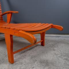1930s Austrian Bauhaus Garden Lounger Orange Painted - 2170565