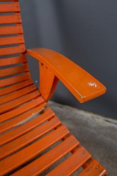 1930s Austrian Bauhaus Garden Lounger Orange Painted - 2170566