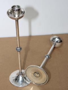 1940s Art Deco Sterling Silver Candlesticks - 1806155