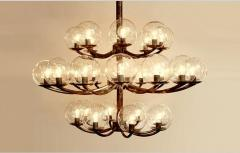 1940s Brass and Steel Chandelier - 970608