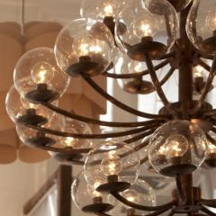 1940s Brass and Steel Chandelier - 970609